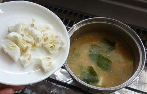 純白ゴーヤー(白ゴーヤー)味噌汁は苦味が少ないです。